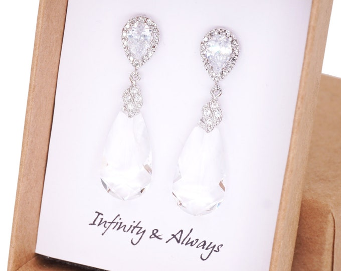 Wasima - Clear Swarovski Teardrop Crystal Earrings, White Wedding, Bridal Earrings, Bridesmaid Jewelry, Weddings