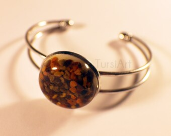 Bee Pollen bracelet, Real Bee pollen in resin cabochon bangle in silver or brass, Honey Bee Ambrosia, Bee Bread jewelry by TursiArt