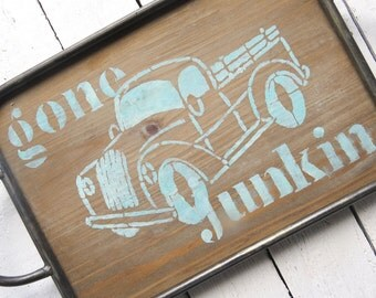 Gone Junkin Tray, Farmhouse Tray, Handled Wooden Tray, Shabby Painted Tray, Cottage Decor, Rustic Tray, Painted Tray, Old Truck Tray