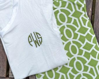 Women's Monogrammed Pajamas - Green Trellis - Size Medium