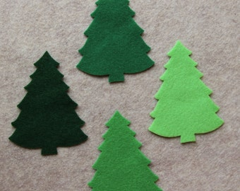 Green Day - Large Christmas Trees #2 - 12 Die Cut Acrylic Felt Shapes