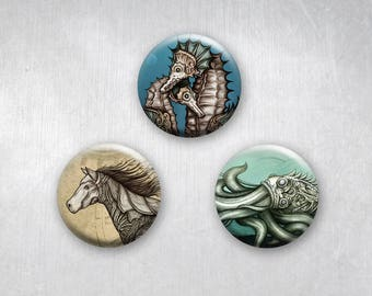 Steampunk Animals, Seahorses, Octopus and Horse, Pinback Buttons, Original Art Design, 1.25 inch, Set of 3