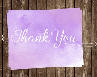 Watercolor, Thank You Cards,Purple, Bridal Shower, Wedding, White, Paint, Set of 24 Folding Notes, FREE Shipping, Modern, Birthday, Artsy