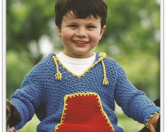 Crochet Toddler Hooded Sweater Pattern - Sizes 4, 6, 8, 10, 12 - Front Pocket, Raglan Sleeves