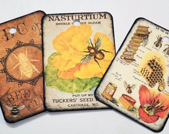 Bee Gift Tags - Variety Set 9 - Honeybee Tags - Vintage Bees -  Bee Lady Tag -  Merchandise Tags -  Yellow Black Brown - Garden Tags