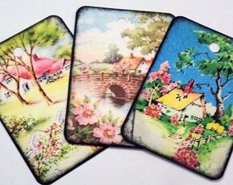 Garden Cottage Tags - Variety Set 9 - Flowering Cottages - Cottage Chic - Cottage Gift Tags - Garden  Tags - Spring Tags - Country Cottages