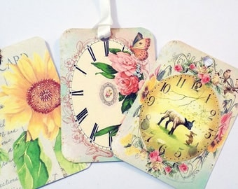Clearance Tag Soup 2 - Set of 20 - Spring Tags - Discontinued Style - Flower Tags - Butterfly Tags - Paris Tags - Bird Tags - Floral Tags