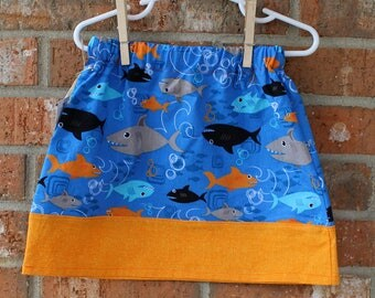 Shark Girl Power Blue and Orange Cotton Skirt Size 2T Ready to Ship