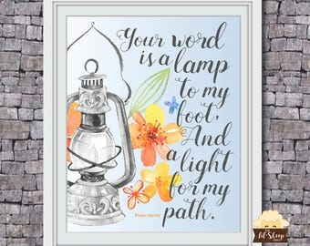 Your Word Is A Lamp/Psalms 119:105/Bible Scripture/Home Decor/ Printable Art/ Typography Print/Housewarming Gift/ Digital Download