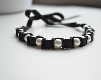 Pearl Choker. Jewelry.  White Black Necklace.  Black Ribbon Choker. Chokers. Statement Choker. Summer Accessory. Black Choker. Pearl Choker.