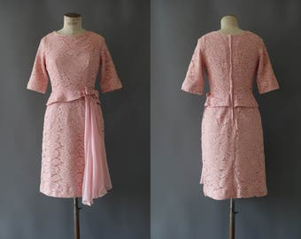 Rose dress | Full lace pink dress | 1950's by cubevintage | small