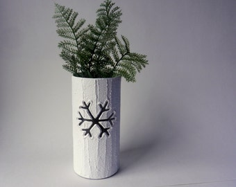 Snowflake Vase / carved snowflake / Housewarming gift / Home decor / home gift / white candle holder / white vase / winter decor