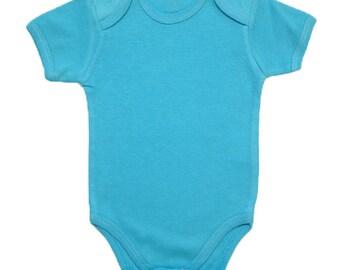 sky blue bodysuit - baby bodysuit - short sleeves - solid color - summer bodysuit