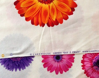 """Lakehouse Fabric Lot of Two - """"Day Z Chain"""" and """"Day Z Crazy"""" - Bright Gerber Daisy Fabric - Quilt Fabric"""
