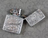 Vintage 800 Silver Etched Lighter Case with Zippo Lighter Insert