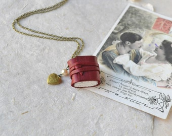 Red Leather Book Necklace with Heart Locket
