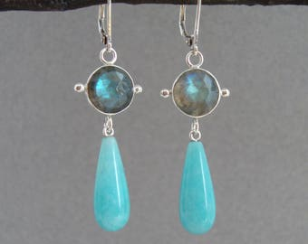 Rose Cut Labradorite and Amazonite Earrings in Sterling Silver, Pretty Aqua-Blue Dangle Earrings