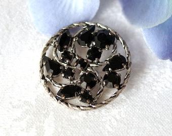 Vintage Rhinestone BUTTON Pronged Black Glass