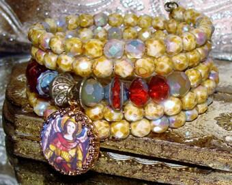 Archangel Michael blue Picasso beads charm wrap bracelet Pamelia Designs Sacred Jewelry