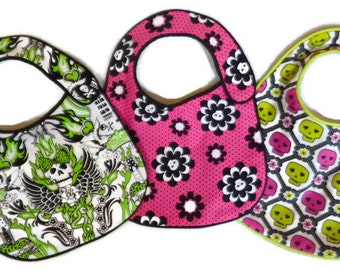 Punk Rock Baby Bibs for baby girl - set of 3 bibs Green and Pink Skulls