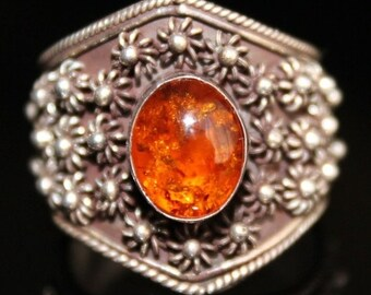 Scorpio Birthday SALE Stunning Amber Middle Eastern Boho Ornate Sterling Silver Vintage Ring