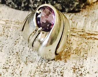 Beautiful Modernest Sterling Silver Faceted Natural Purple Amethyst Vintage Ring