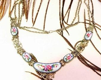 Holiday Christmas SALE Beautiful Art Nouveau Art Deco Hand Painted Russian Floral Silver Filigree Vintage Necklace Art Nouveau Jewelry