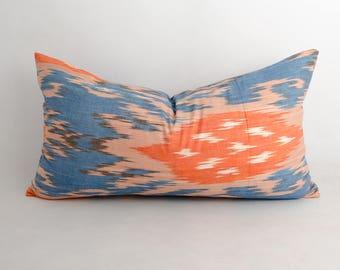27x15 ethnic ikat lumbar pillow cover, blue pillow blue ikat, blue orange, pillow, cushion, long pillow, decorative lumbar pillow