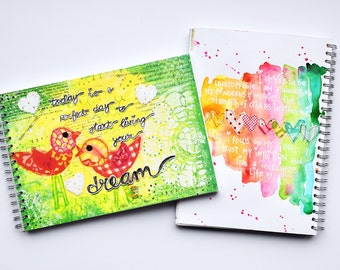 "Art Journal Revlie ""today is a perfect day to start living your dream"" & a FREE set of my REVitup postcards"