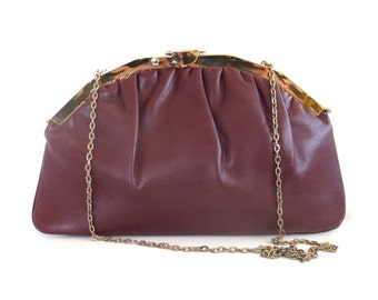 Vintage Maroon Clutch/Purse with Chain Strap and Floral Print Lining