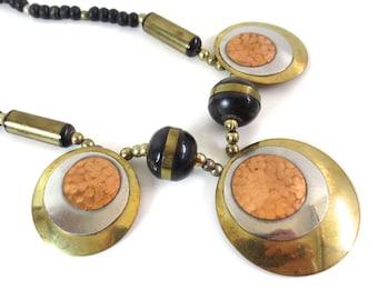 Vintage Boho Copper Disc Necklace
