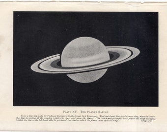C. 1909 SATURN PLANET - original antique print - lithograph - astronomy celestial - drawing made from the Lick Telescope