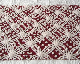 Free Shipping Fabric 50 Dollars+ Coupon Code FREEFIFTY Christmas or Fall Burgundy and White Wedding Ring Vintage Chenille BedspreadFabric