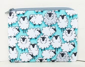 Sheep Zipper Pouch, Gray Lambs on  Turquoise, Eyes on You Coin Purse