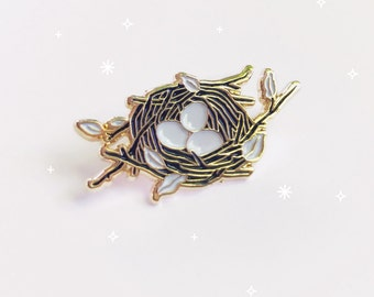 Bird Nest Pin, Soft Enameled Lapel Pin, Collectible Art Jewlery