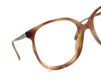 Vintage A/O 80s Big Lens Red Tortoise Cateye Eyeglasses Eyewear Frame NOS