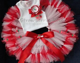 Strawberry Birthday Tutu   1st Birthday Tutu Dress   Baby Birthday Tutu   Cake Smash Tutu   Tutu Skirt   Strawberry Shortcake Costume