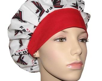 Scrub Hats - Atlanta Falcons Fabric With Red Headband