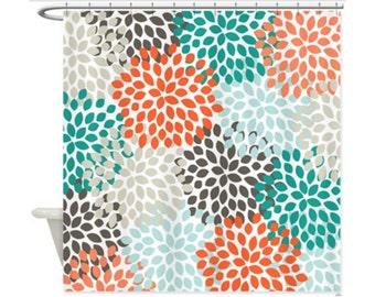 COASTAL COLORS DAHLIAS Personalized Kids' Shower Curtain - Kids' Bathroom Decor; Kids' Shower Curtain