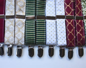 Little and Big Guy SUSPENDERS - Burgundy Green and Gold Holiday Collection- (Newborn-Adult) - Baby Boy Toddler Teen Man - Christmas Winter