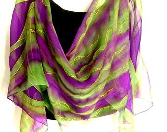 "Hand Painted Silk Scarf, Purple Green, Abstract Floral Design, 71"" Long Scarf,  Silk Chiffon Scarf, CUSTOM ORDER"