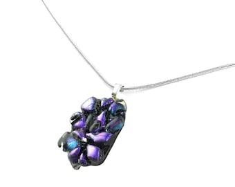 Pendant Necklace, Purple Nuggets, Contemporary Dichroic Glass