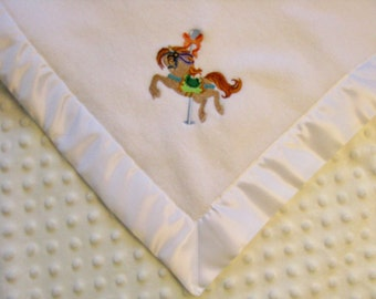 Baby Blanket White Fleece White Minky Dot with Embroidered Carousel Horse Ready to Ship
