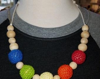 Natural wood  Rainbow nursing necklace- crochet necklace- beaded necklace- nursing- breastfeeding- babywearing- birch wood- jewelry
