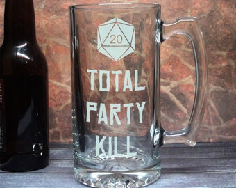 Total Party Kill - Etched Beer Mug - TPK - Tabletop RPG Drinkware - Dungeon Master - Critical Hit - DM Gift - Gamer Gift - Large Heavy Mug