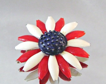CHRISTMAS SALE Vintage Brooch Mod Flower Power Red White and Blue
