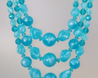 ON SALE Vintage Aqua Blue Three Strand Lucite Necklace.  Turquoise Marbled Lucite Bead Necklace.