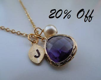 20% off - Bridesmaid Gift, Gold or Silver Amethyst Necklace, February Birthstone Necklace with Initial Leaf, Jewel, Pearl, Birthday Gift