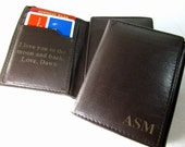 RFID Monogrammed Custom Leather Trifold Wallet, Engraved Wallet, Personalized Men's Wallet, Groomsmen Gifts, Father's Day Gift VERTICAL