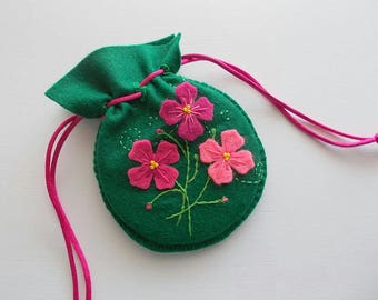 Felt Gift Bag Green Jewelry Pouch with Embroidered Felt Flowers and Swirls Handsewn